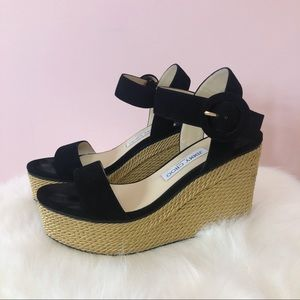 Jimmy Choo Abigail Black Wedge Sandals w Gold Rope